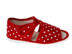 17d4daa45ad8 RAK papučky - detská domáca obuv P 100014-3 ČB - LOŠ - bodky červená